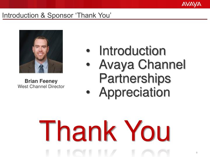 Introduction & Sponsor 'Thank You'