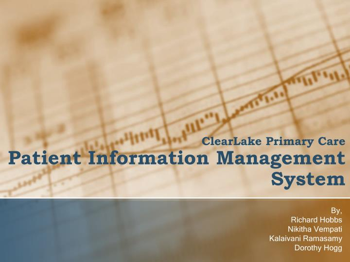 clearlake primary care patient information management system n.