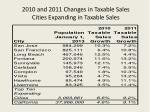 2010 and 2011 changes in taxable sales cities expanding in taxable sales
