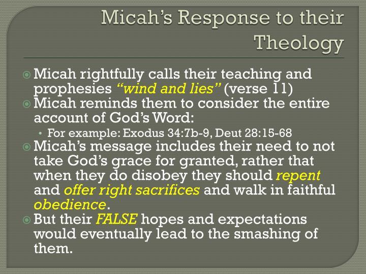 Micah's Response to their Theology