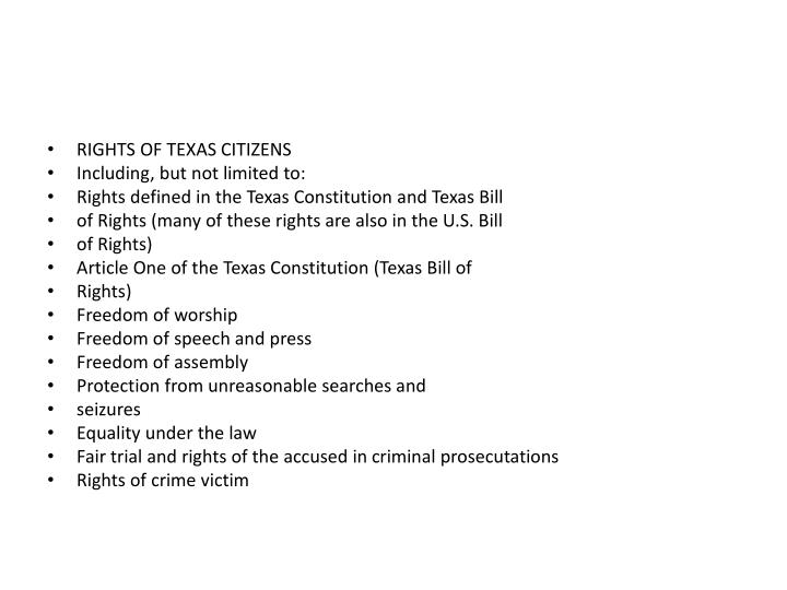 RIGHTS OF TEXAS CITIZENS