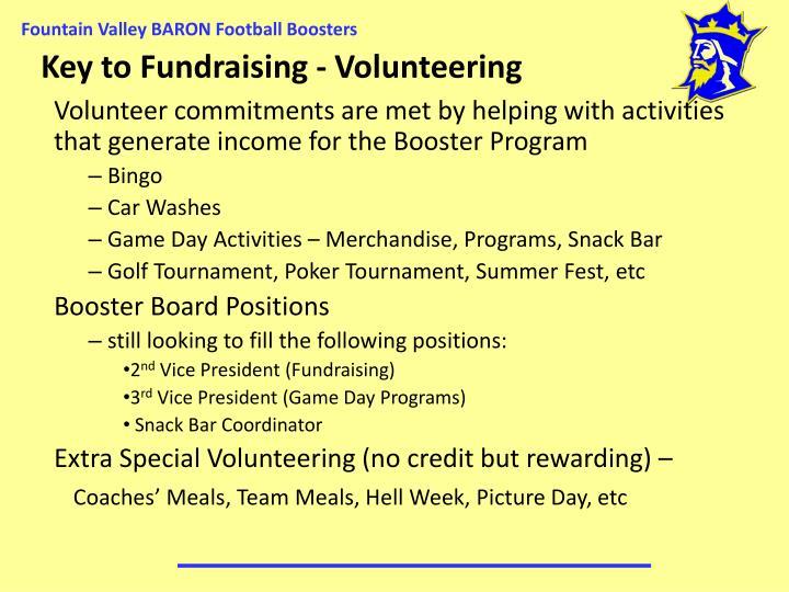 Key to Fundraising - Volunteering