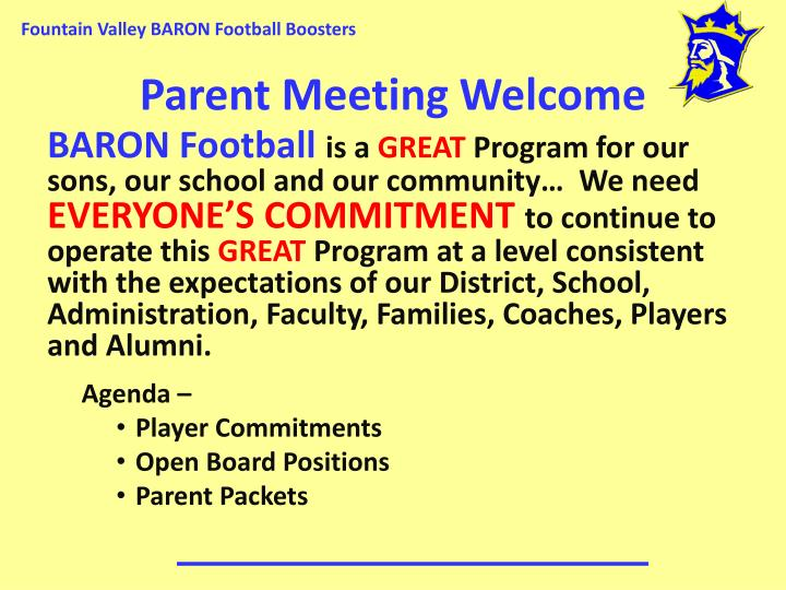 Parent meeting welcome