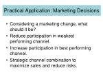 practical application marketing decisions