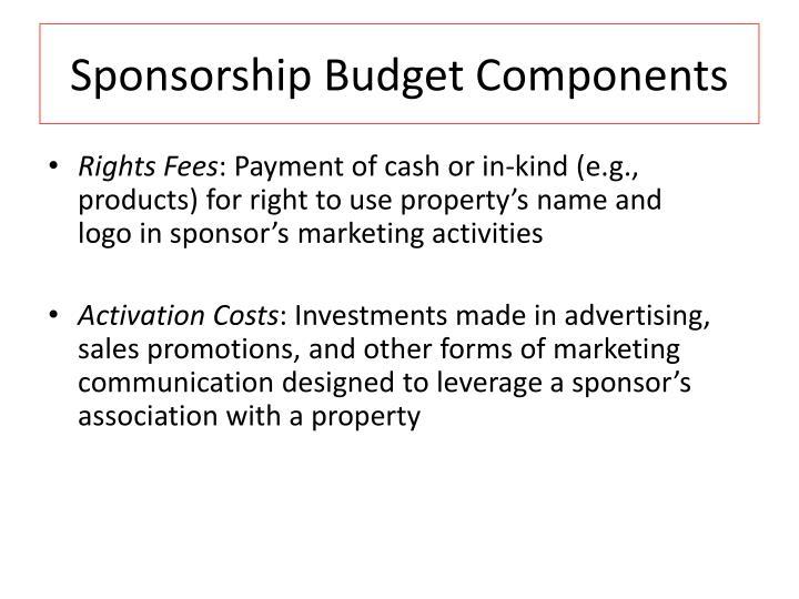 Sponsorship Budget Components