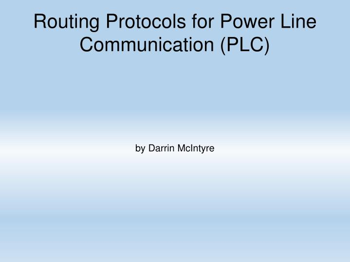 routing protocols for power line communication plc n.