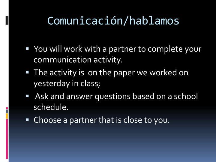 Comunicación/hablamos