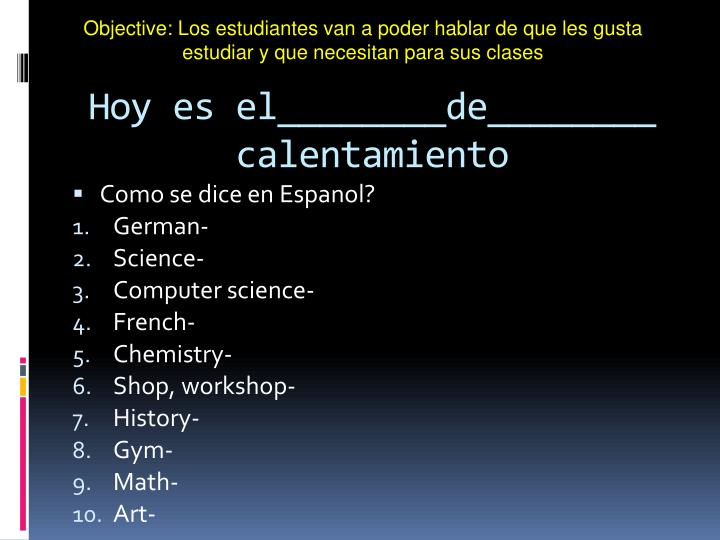 Objective: Los