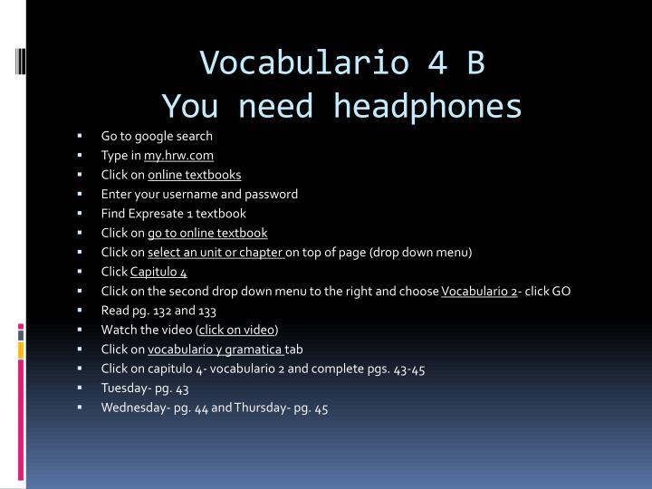 Vocabulario 4 B