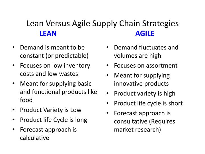 Lean Versus Agile Supply Chain Strategies