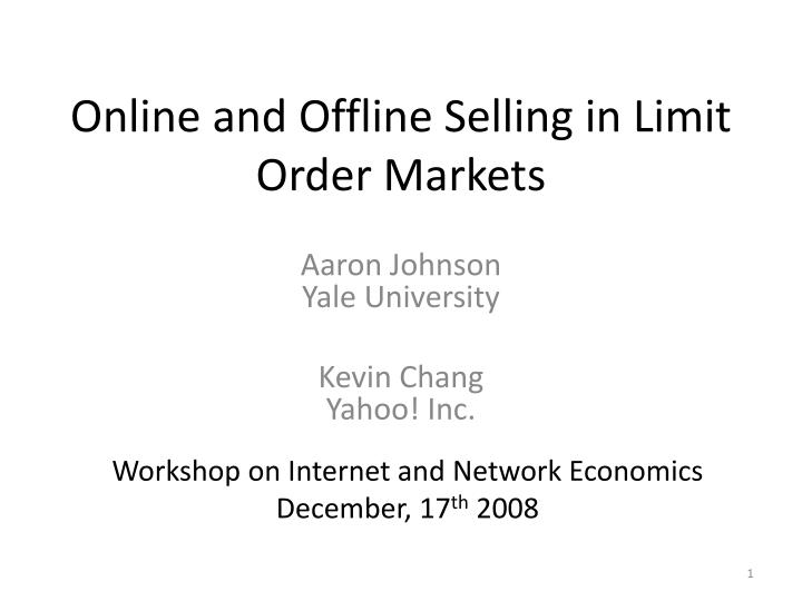 online and offline selling in limit order markets n.