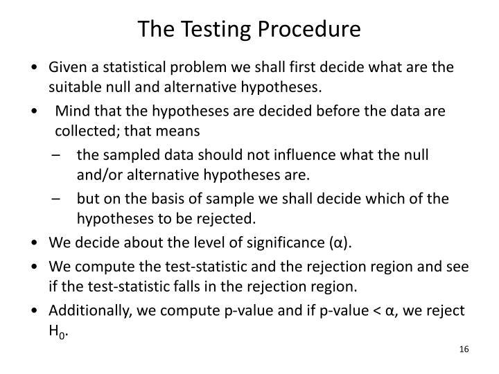 The Testing Procedure