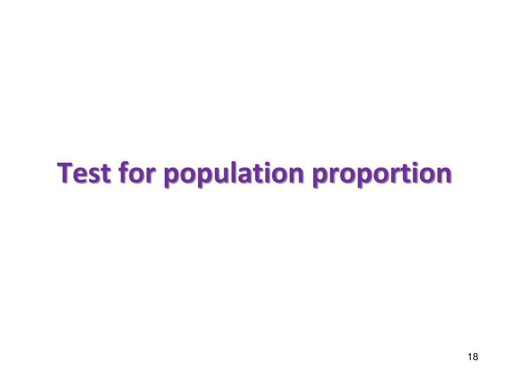 Test for population proportion