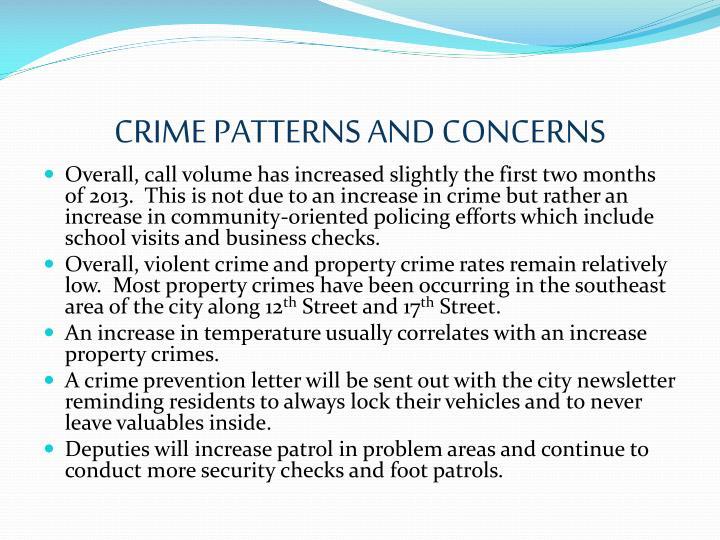 CRIME PATTERNS AND CONCERNS