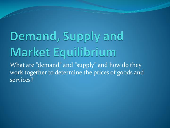 demand supply and market equilibrium n.