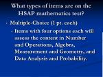 what types of items are on the hsap mathematics test