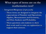what types of items are on the mathematics test