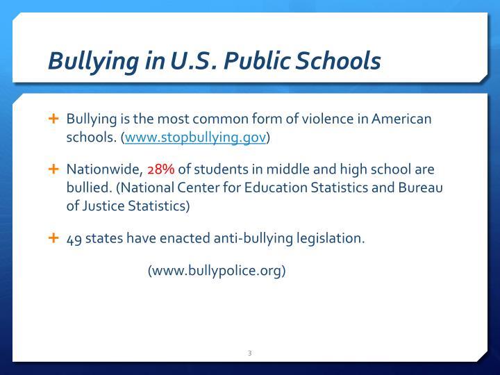 Bullying in u s public schools