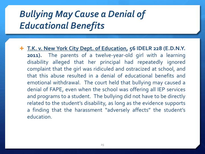 Bullying May Cause a Denial of Educational Benefits