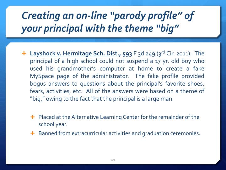 """Creating an on-line """"parody profile"""" of your principal"""