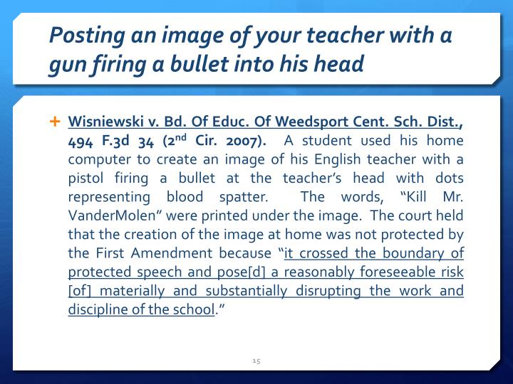 Posting an image of your teacher with a gun firing a bullet into his head