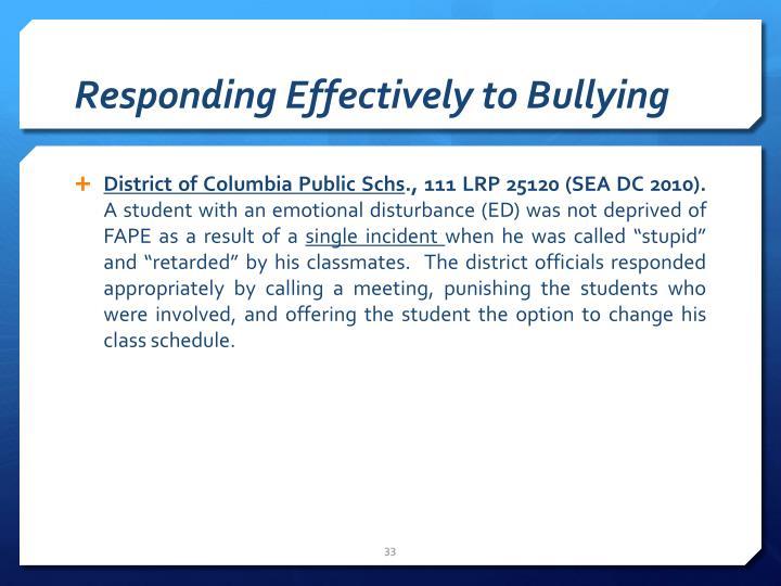 Responding Effectively to Bullying
