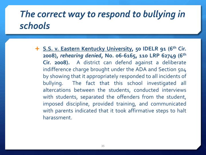 The correct way to respond to bullying in schools