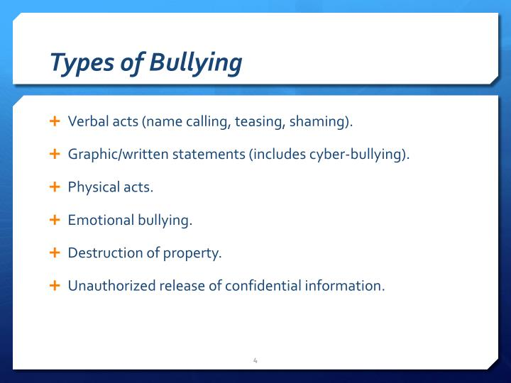 Types of Bullying