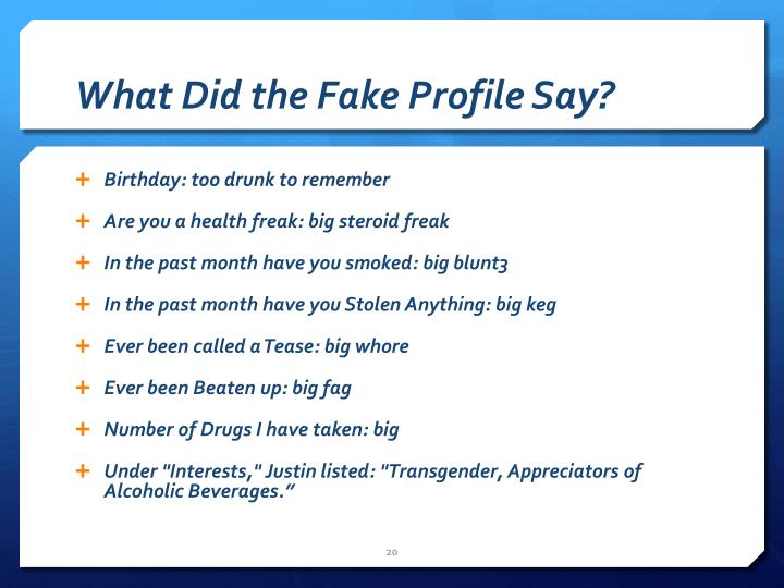What Did the Fake Profile Say?