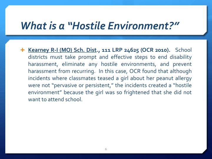 """What is a """"Hostile Environment?"""""""