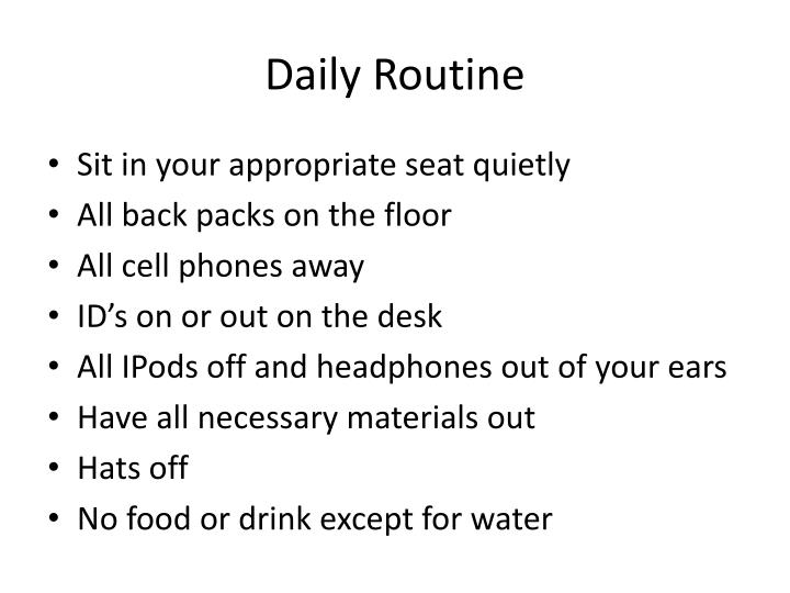 daily routine n.