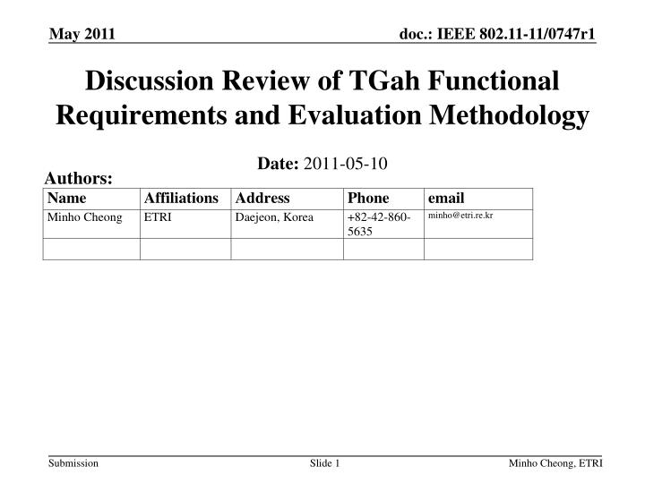 discussion review of tgah functional requirements and evaluation methodology n.