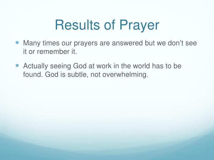 Results of Prayer