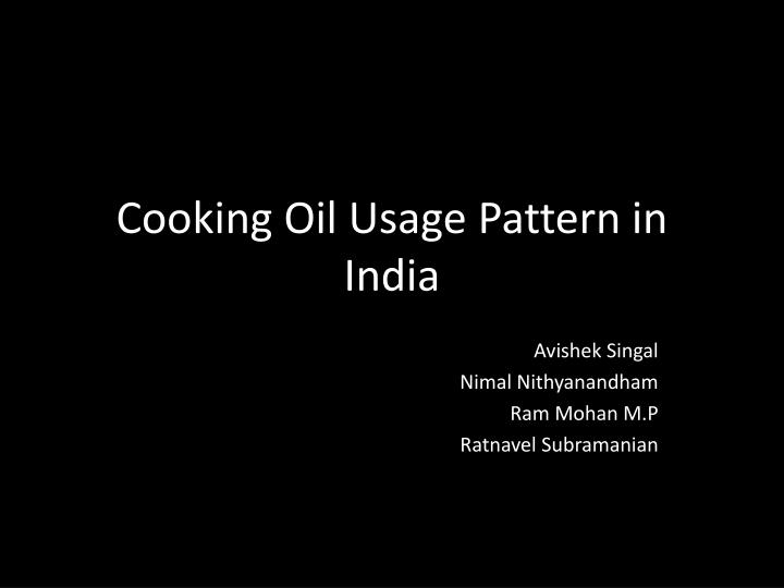 cooking oil usage pattern in india n.