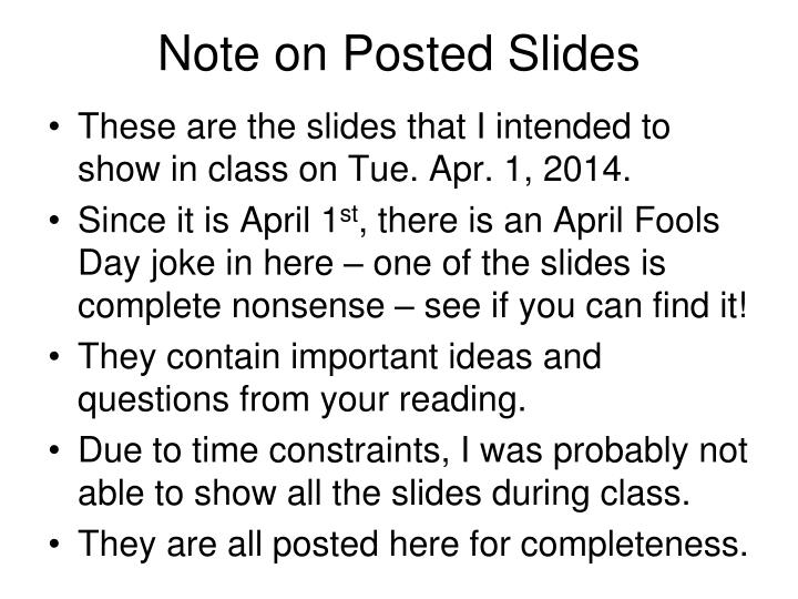 note on posted slides n.