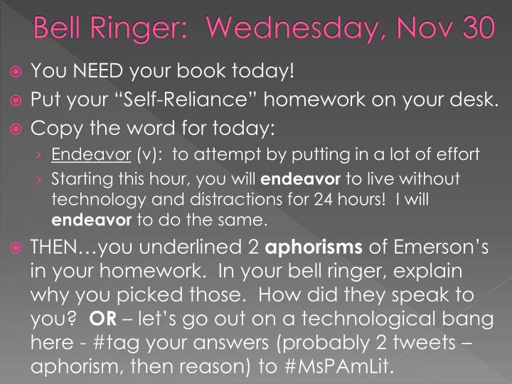 bell ringer wednesday nov 30 n.