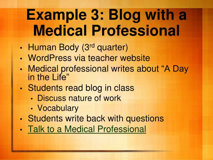 Example 3: Blog with a Medical Professional