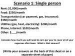 scenario 1 single person
