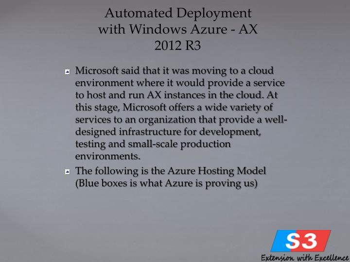 Automated Deployment with Windows Azure - AX 2012 R3