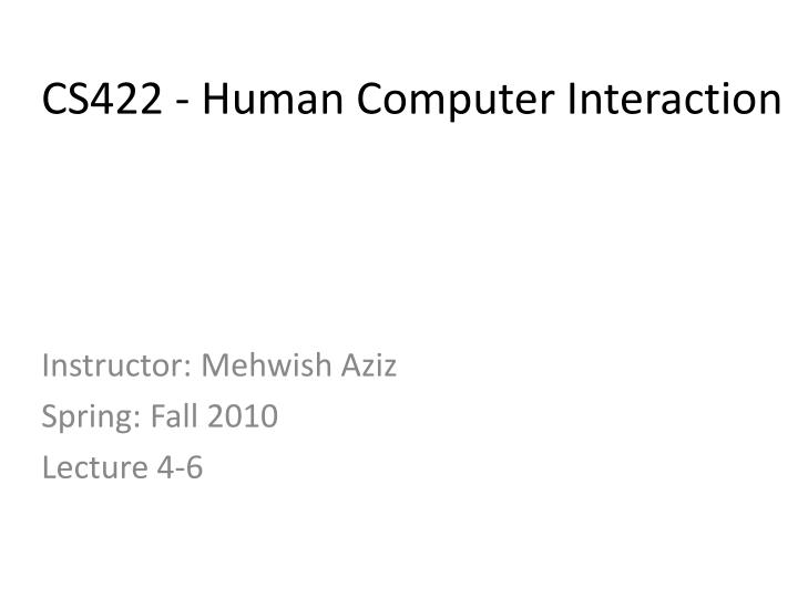cs422 human computer interaction n.