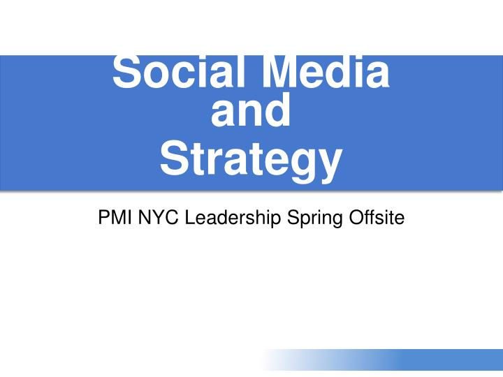social media and strategy n.