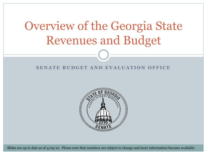 overview of the georgia state revenues and budget n.