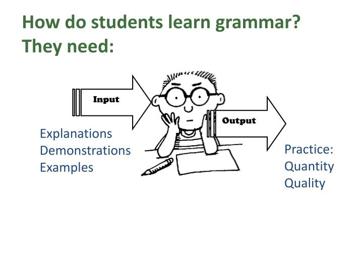 teaching grammar communicatively Practice makes perfect to start with, i've learnt about grammar teaching methods and approaches during the professional development course a-e eteacher program during the winter 2017 term.