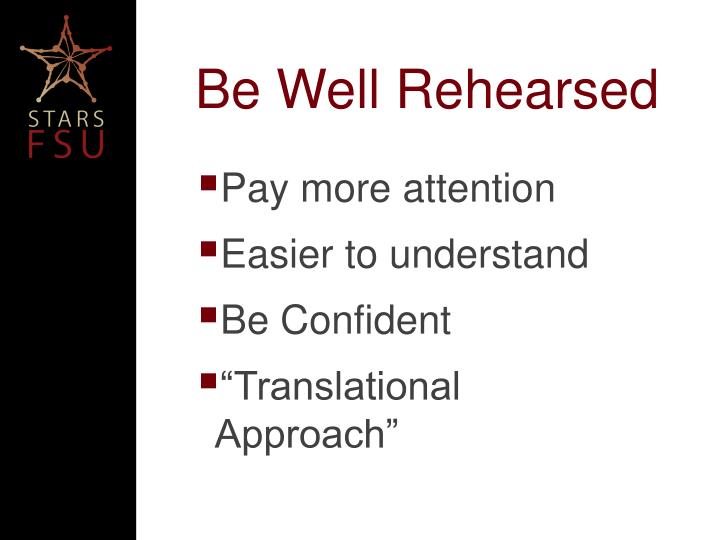 Be Well Rehearsed