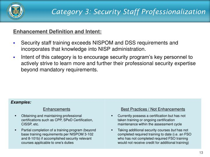 Category 3: Security Staff Professionalization