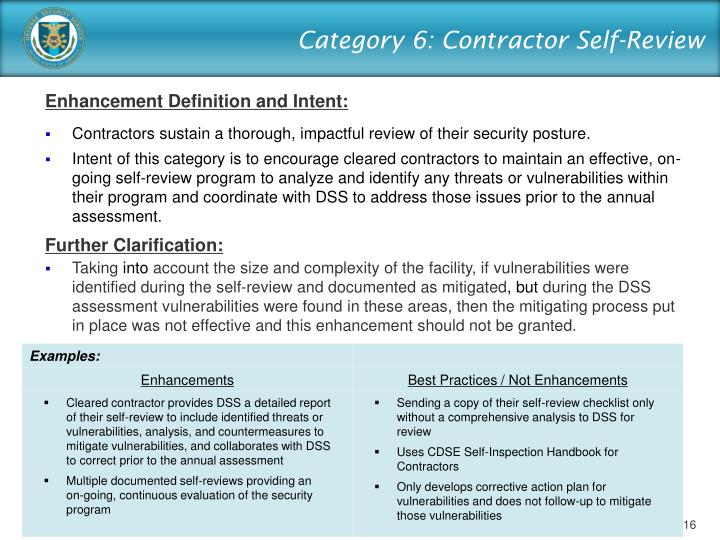 Category 6: Contractor Self-Review