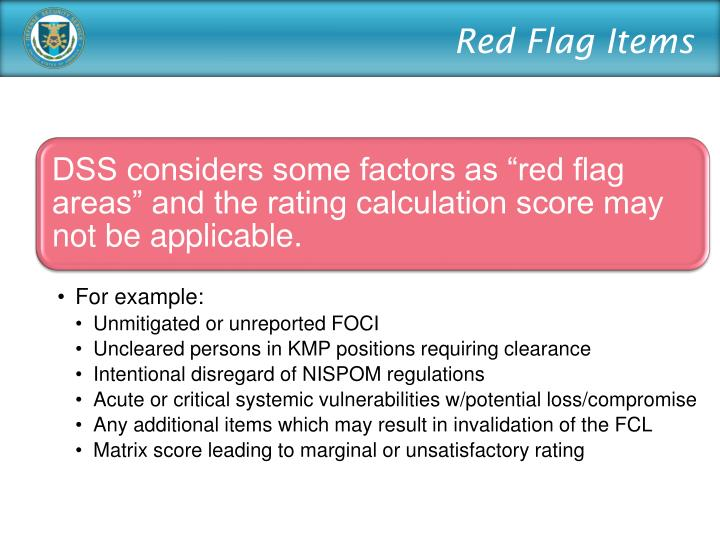 Red Flag Items