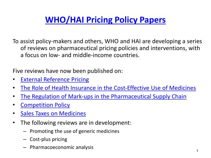 who hai pricing policy papers n.