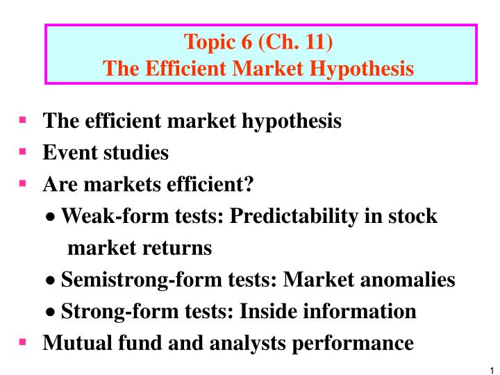 "critical analysis of efficiency market hypothesis essay This paper examines the attacks on the ef""cient market hypothesis predictable than some recent academic papers the efficient market hypothesis and."