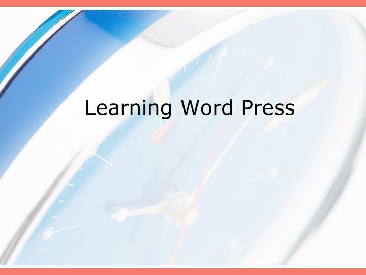 learning word press n.